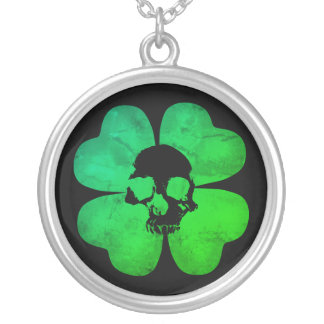 Spooky skull shamrock silver plated necklace