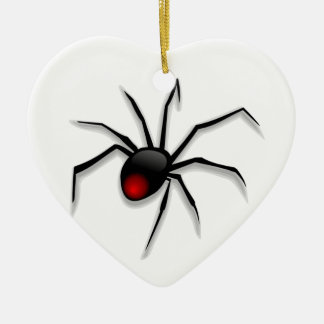 Spooky Spider and Web Ceramic Heart Decoration