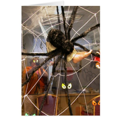Spooky Spider Halloween Office Decorations Photo Greeting Card