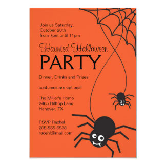 Spooky Spider Halloween Party Invitation