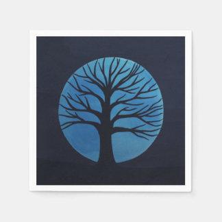 Spooky Tree (Blue) Napkins Paper Napkin