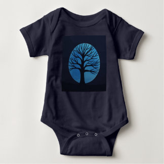 Spooky Tree (Blue) One Piece Bodysuit for Baby