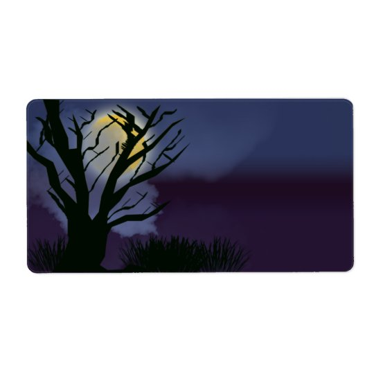 spooky tree shipping label