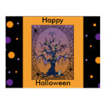 Spooky Tree & Spider Web Halloween Postcard