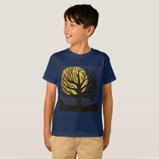 Spooky Tree (Yellow) Kids Tee Shirt