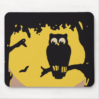 Spooky Vintage Halloween Owl, Tree with Full Moon Mouse Pads