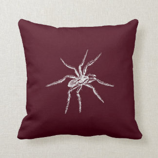 Spooky White Spider on Wine Cushion
