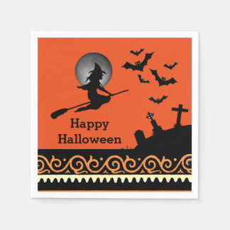 Spooky Witch Moon Bats Cemetary Halloween Scene Disposable Napkin