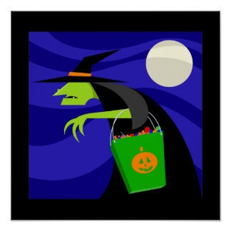 Spooky Witch with Candy Bag Posters