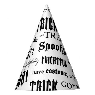 Spooky Words Black and White Party Hat
