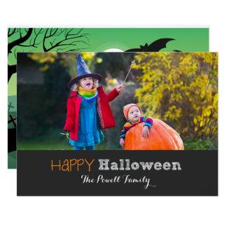 Spooky Zombie Grave Moon Halloween Photo Card