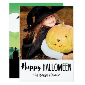 Spooky Zombie Graveyard Halloween Photo Card