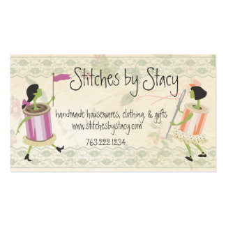 Spool of thread & button people lace sewing card pack of standard business cards