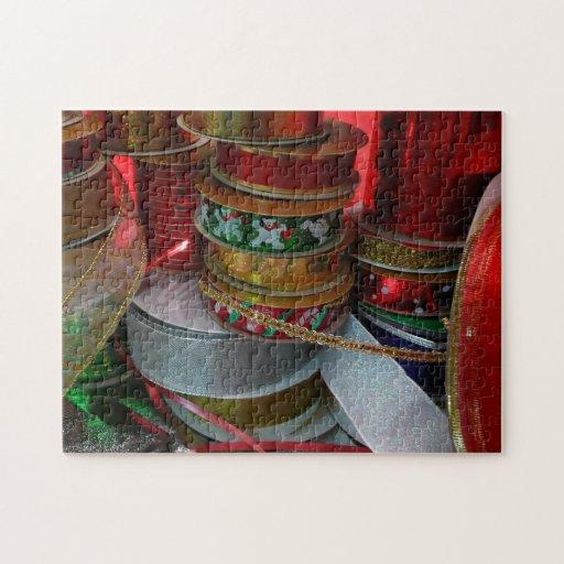 Spools of Christmas Ribbon Holiday Puzzle