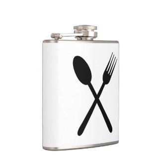 Spoon and Fork Set Crossed Foodie Love Cutlery Art Hip Flask