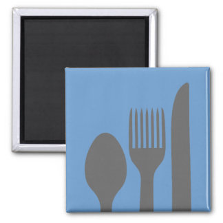 Spoon, Knife & Fork Graphic Square Magnet