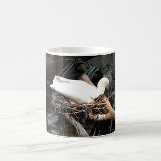 Spoonbill bird on nest in Spain Basic White Mug