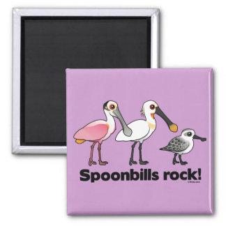 Spoonbills Rock! Square Magnet