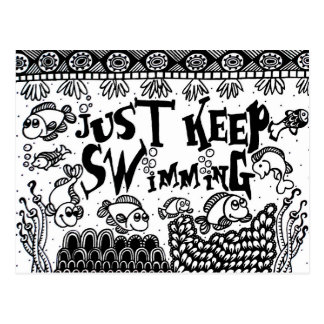 Spoonie-Just Keep Swimming-Chronic Illness Postcard
