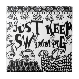 Spoonie-Just Keep Swimming-Chronic Illness Small Square Tile