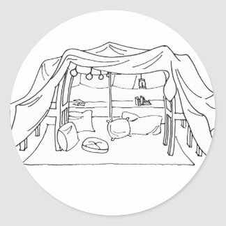 Spoonie-Pillow/Blanket Fort-Chronic Illness Round Sticker