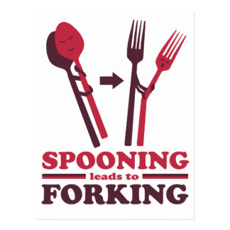 Spooning Leads to Forking Love Romance Postcard