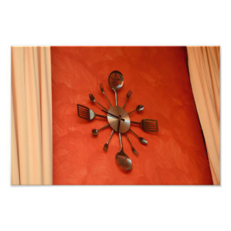 Spoons and forks clock photo print
