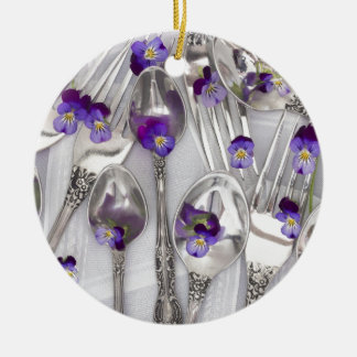 spoons and forks with violets christmas ornament