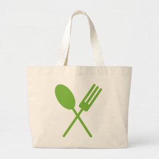 Spork Green Large Tote Bag