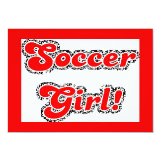 sport3 soccer girl sports fans red glitter text 13 cm x 18 cm invitation card