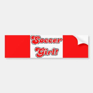 sport3 soccer girl sports fans red glitter text bumper stickers