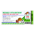 Sport All Star Ticket Pass Birthday Invitation