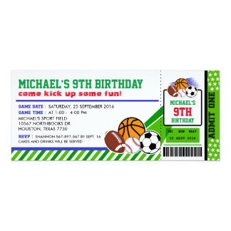 Sport All Star Ticket Pass Birthday Invitation