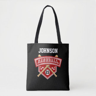 Sport Baseball in Red, White & Black - DIY Text Tote Bag