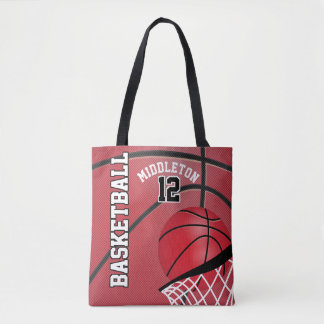 Sport Basketball | DIY Text - Red Tote Bag
