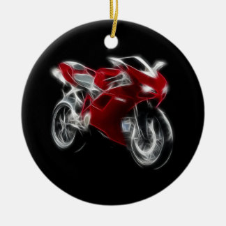 Sport Bike Racing Motorcycle Round Ceramic Decoration
