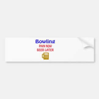 Sport Bowling now beer later Bumper Sticker