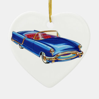 Sport car's drawing made in 50's ceramic heart decoration