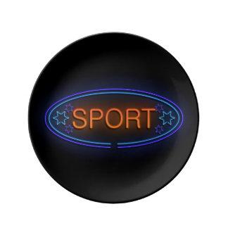 Sport concept. porcelain plate