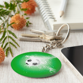 Sport, flying soccer with powder key chains