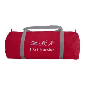 Sport I tri harder triathlon slogan gym Gym Duffel Bag