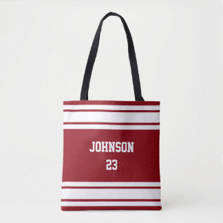 Sport Jersey Dark Red and White - DIY Text & Color Tote Bag