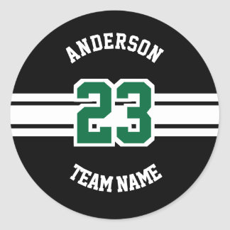 Sport Name, Team and Number Designs Round Sticker