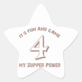 Sport  Number 4 Designs Star Sticker