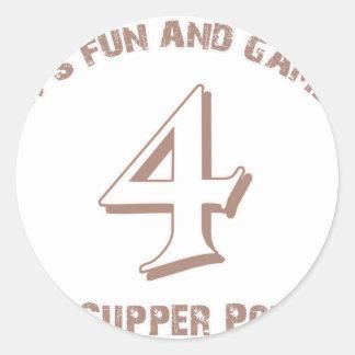 Sport  Number 4 Designs Round Sticker