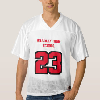 Sport Number in Red   DIY Text Men's Football Jersey