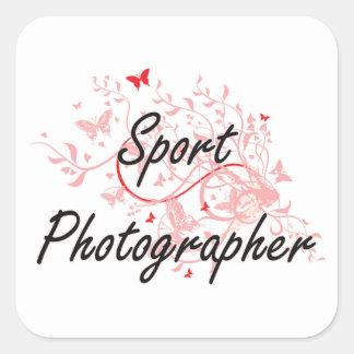 Sport Photographer Artistic Job Design with Butter Square Sticker