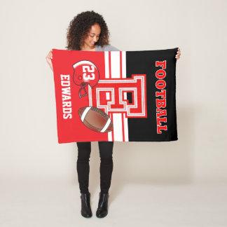 Sport Red Letter E - Football Fleece Blanket