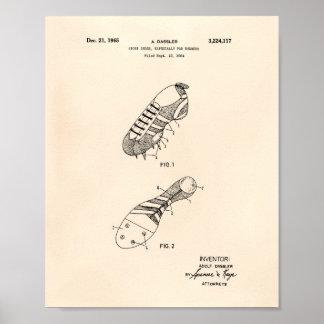 Sport Shoe Runner 1965 Patent Art Old Peper Poster