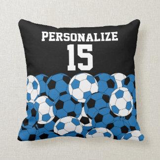 Sport Soccer Collage | DIY Name & Number | Blue Cushion